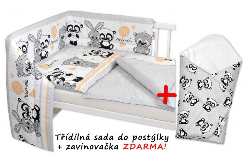 3D sada mantinel s povlečením + zavinovačka zdarma, Cute Animals - šedá, 135x100cm, D19