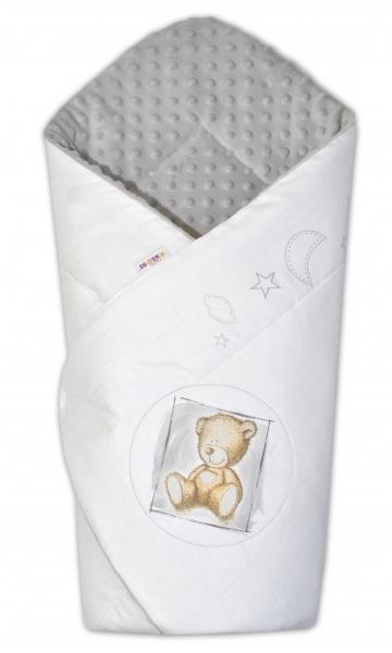 Zavinovačka, bavlněná s minky 75x75cm by Teddy -  bílá, sv. šedá