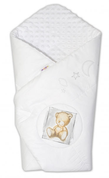 Baby Nellys Zavinovačka, bavlněná s minky 75x75cm by Teddy -  bílá, bílá