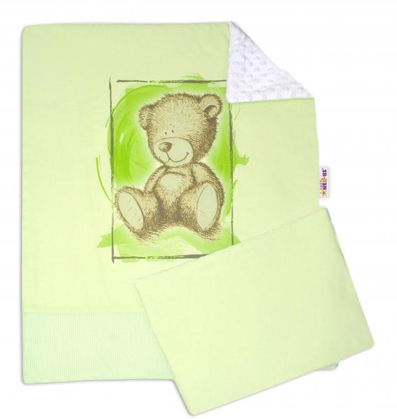 2-dílná sada do kočárku s minky by Teddy- sv. zelená, bílá