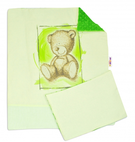 2-dílná sada do kočárku s minky by Teddy - sv. zelená, tm. zelená