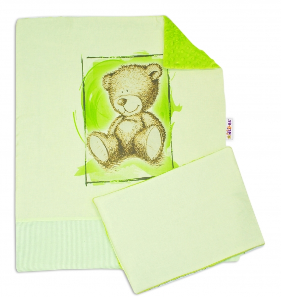 Baby Nellys 2-dílná sada do kočárku s minky by Teddy - sv. zelená, sv. zelená