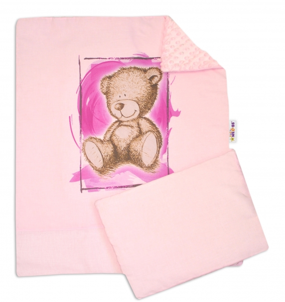 Baby Nellys 2-dílná sada do kočárku s minky by Teddy - sv. růžová, sv. růžová