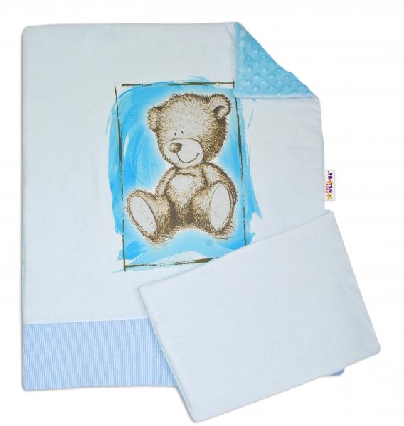 Baby Nellys 2-dílná sada do kočárku s minky by Teddy - sv. modrá, sv. modrá