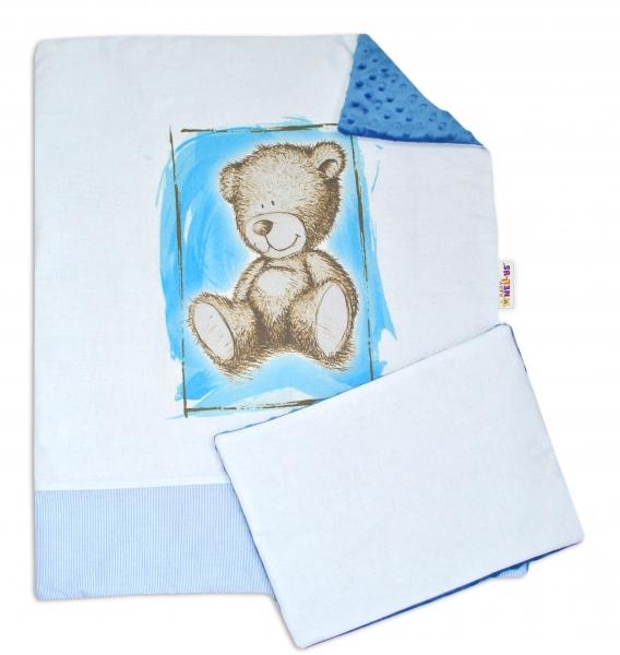 Baby Nellys 2-dílná sada do kočárku s minky by Teddy - sv. modrá, tm. modrá
