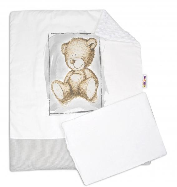 Baby Nellys 2-dílná sada do kočárku s minky by Teddy - bílá s šedou, bílá