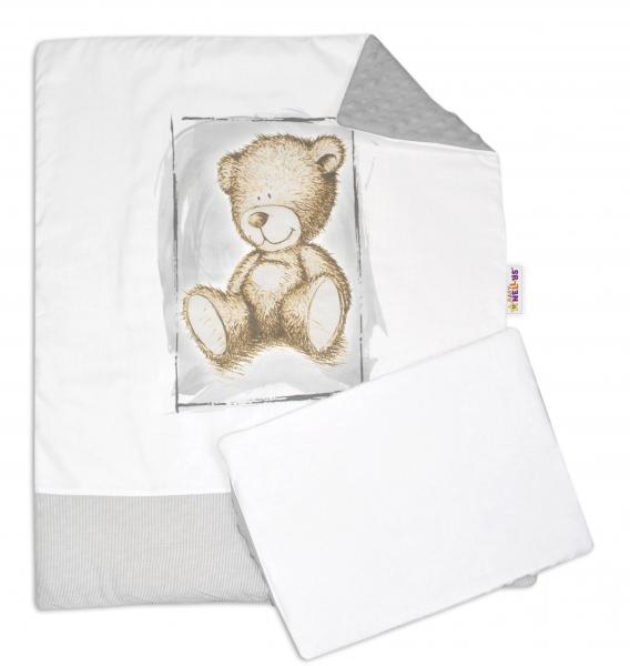 Baby Nellys 2-dílná sada do kočárku s minky by Teddy - bílá s šedou, sv. šedá