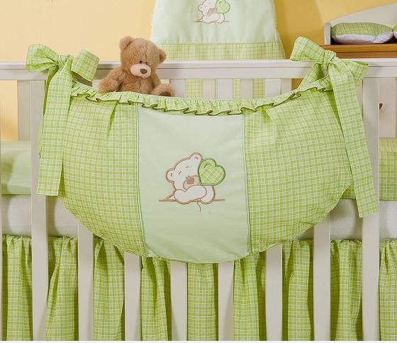 Luxusní kapsář na hračky - Medvídek se srdíčkem zelený kr.