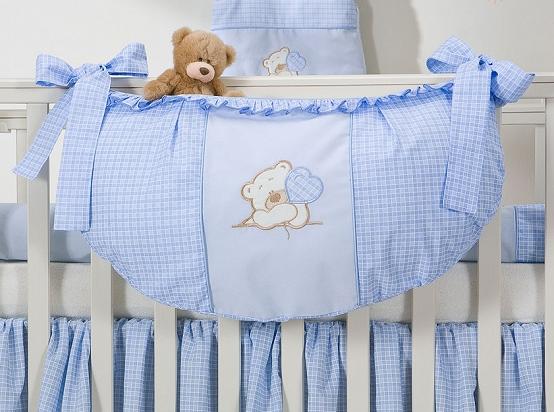 Luxusní kapsář na hračky - Medvídek se srdíčkem modrý kr.