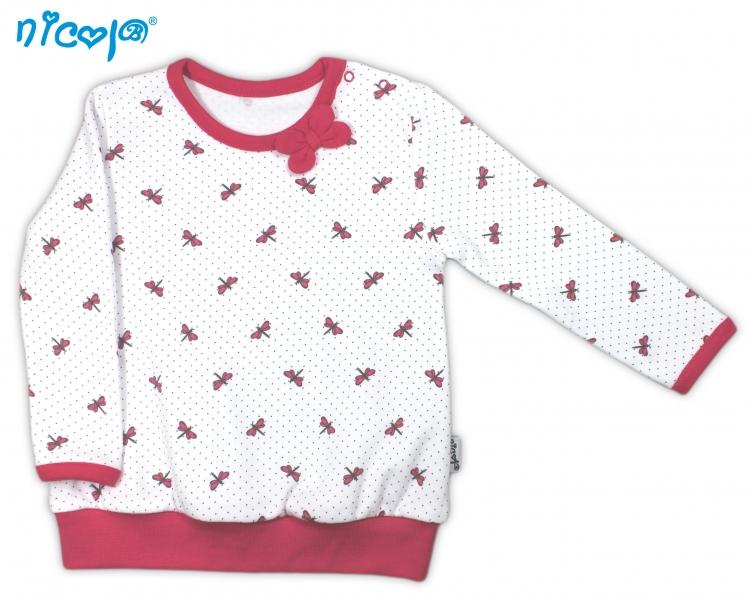 Bavlněné tričko Vážka - dlouhý rukáv - bílé, roz. 98