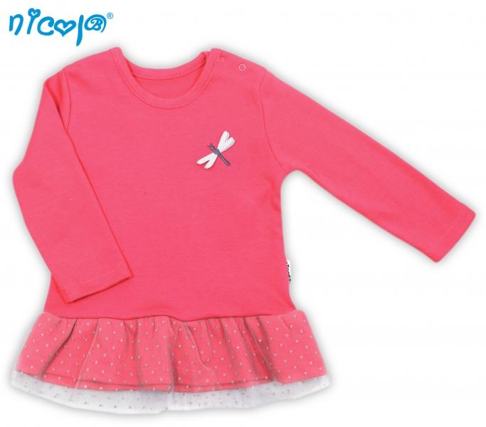 Bavlněné tričko Vážka - dlouhý rukáv - červené, roz. 80, Velikost: 80 (9-12m)