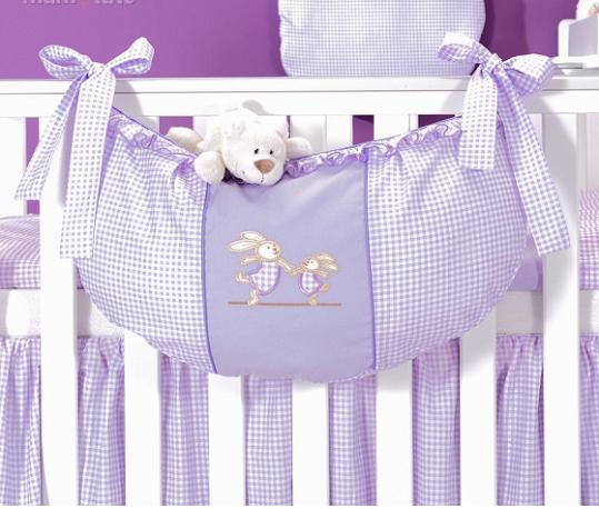 Luxusní kapsář na hračky - Zajíčci fialoví kr.