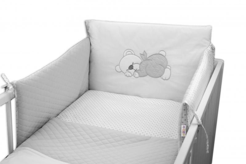 Baby Nellys 3-dílná sada mantinel s povlečením prošívaný Medvídek Maxik, 135x100 - šedá
