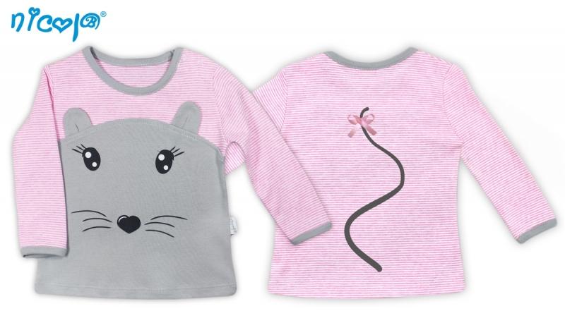 Bavlněné tričko Myšička - dlouhý rukáv, vel. 80
