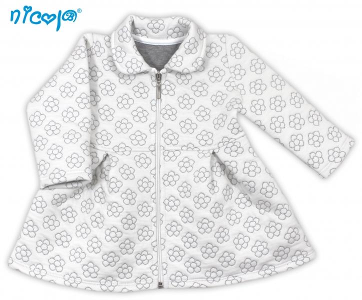 Kabátek Myšička - bílý s květinkami, vel. 92