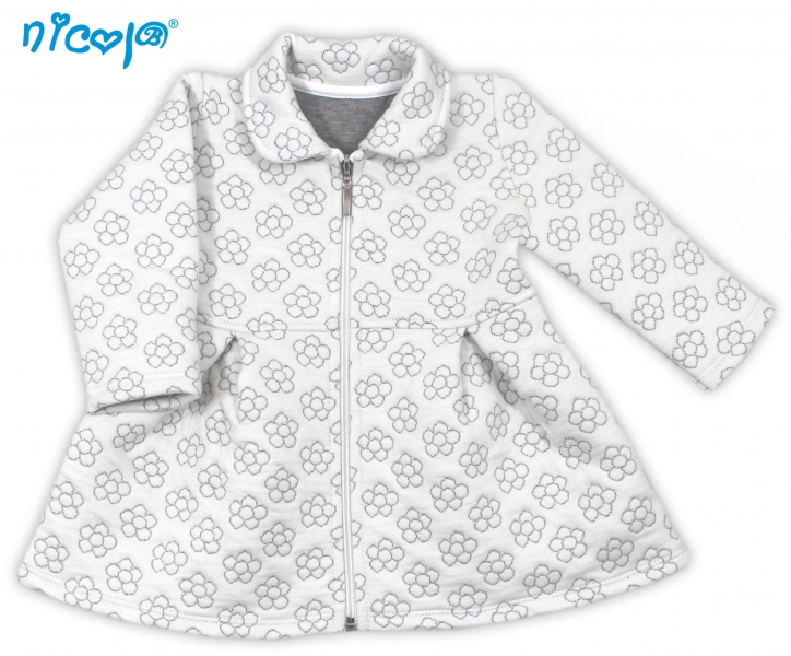 Kabátek Myšička - bílý s květinkami, vel. 98