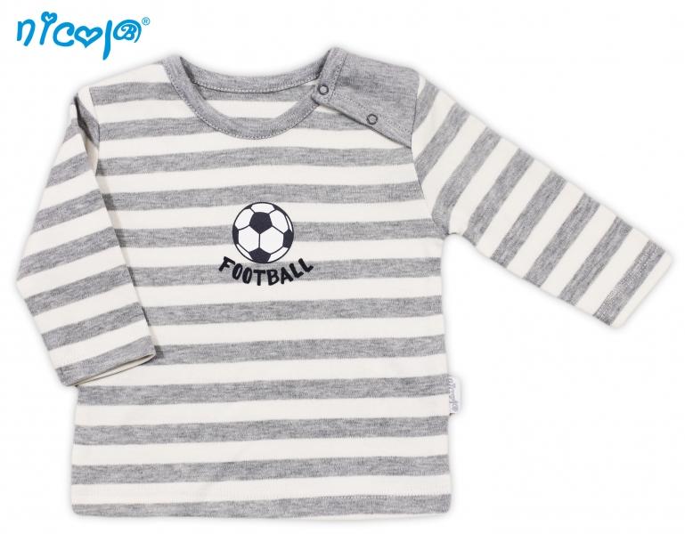 Bavlněné tričko Football - dlouhý rukáv, roz. 80, Velikost: 80 (9-12m)
