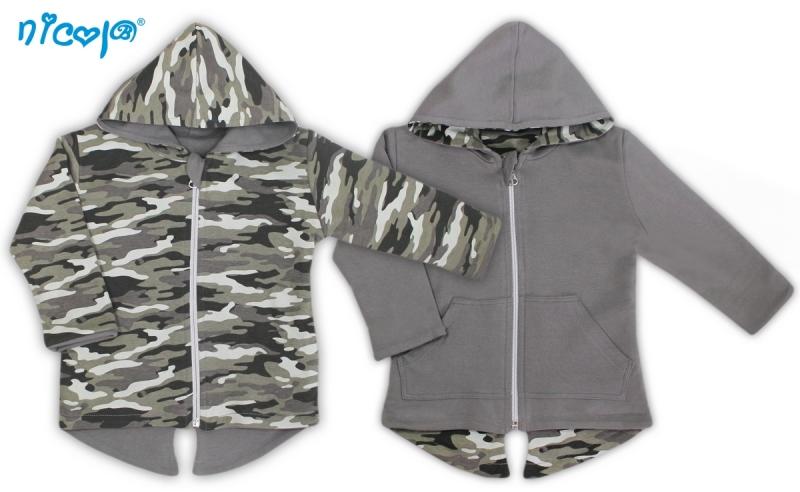Oboustranný  kabátek/bundička Koloušek - šedá/maskáčová, vel. 80, Velikost: 80 (9-12m)