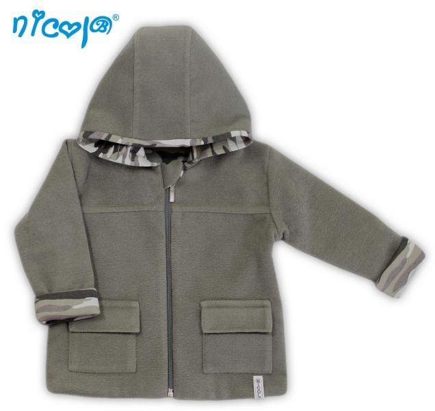 Fleecový kabátek Koloušek - khaki, vel. 80