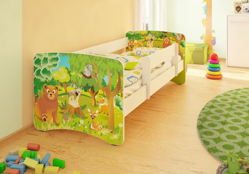 Dětská postel  s bariérkou Filip - Zvířátka z lesa II + šuplík - 160x90 cm