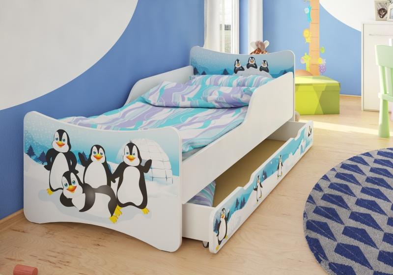 Dětská postel se zábranou Tučnáci + šuplík