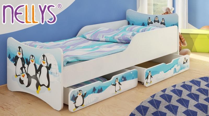 Dětská postel se zábranou Tučnáci + šuplíky - 180x90 cm