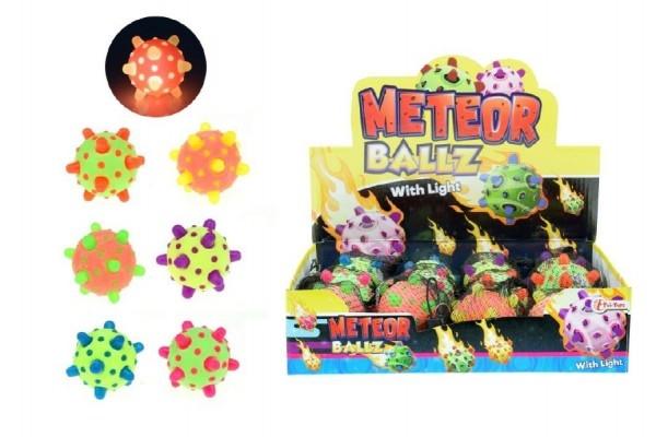 Míček/hopík meteor svítící 12cm plast asst mix barev síťce 12ks boxu