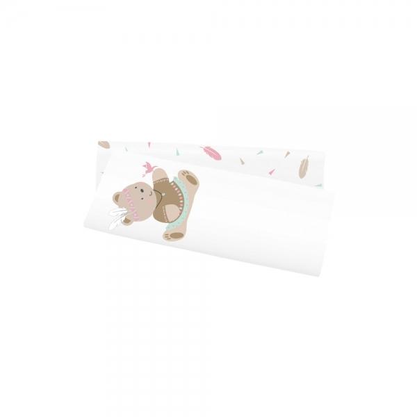 Bavlněné tetra plenky s potiskem 2ks v balení - medvídek indiánka, pírka