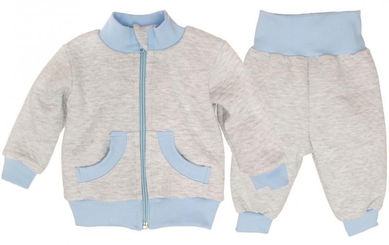 Bavlněná tepláková souprava - šedo/modrá, roz. 68, Velikost: 68 (4-6m)