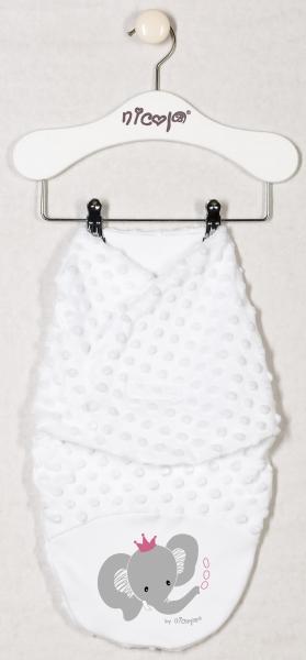 Minky zavinovací deka, zavinovačka  Sloník - bílá, Velikost: 48/52