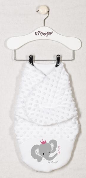 Minky zavinovací deka oteplená, zavinovačka Sloník - bílá, roz. 56/62