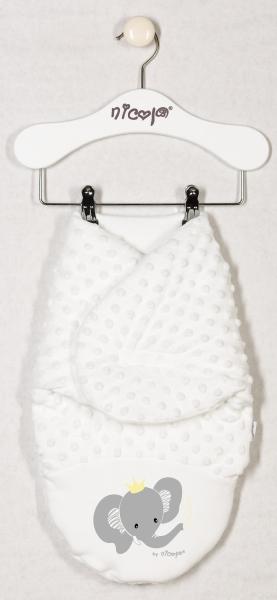 Minky zavinovací deka oteplená, zavinovačka Sloník - smetanová