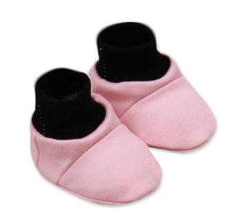 Baby Nellys Botičky/ponožtičky, Little princess bavlna - růžovo/černé