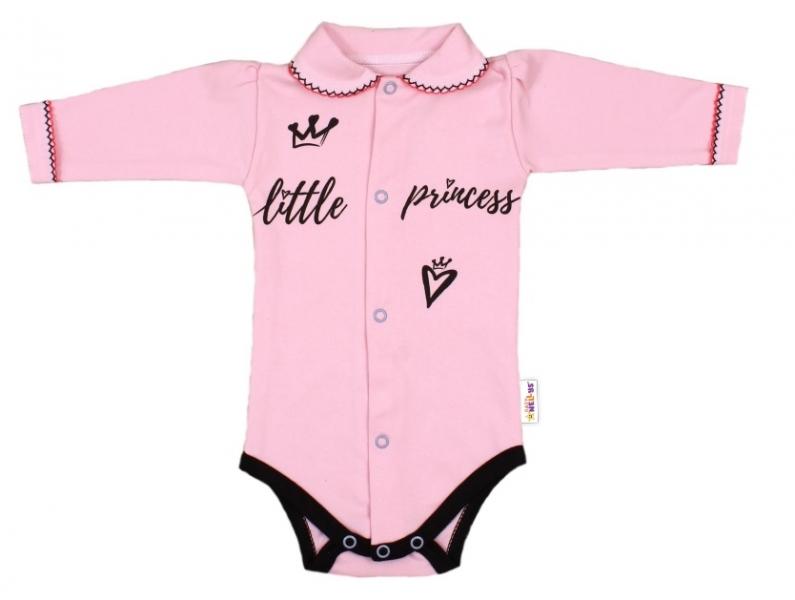 Baby Nellys Body dlouhý rukáv s límečkem,vel. 62, růžové - Little Princess