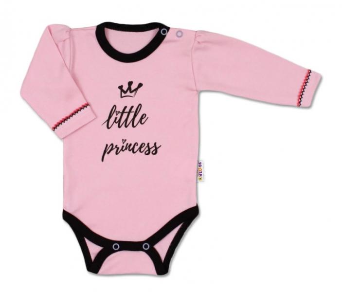 Baby Nellys Body dlouhý rukáv, vel. 68, růžové - Little Princess