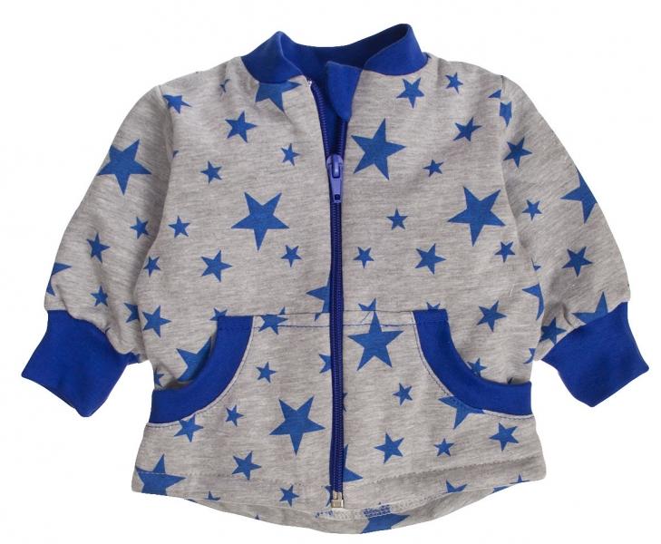 Bavlněná mikinka Hvězdičky modré, vel. 86