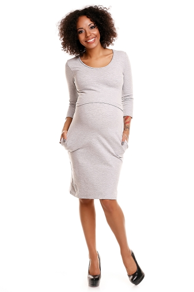 Pohodlné těhotenské šaty, 3/4 rukáv - sv. šedé (kojící), vel. XXL, Velikost: XXL (44)