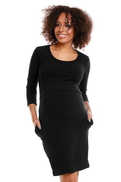 Be MaaMaa Pohodlné těhotenské šaty, 3/4 rukáv - černé (kojící), vel. L/XL