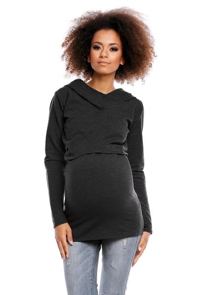 Těhotenské/kojící triko s kapucí - grafitová
