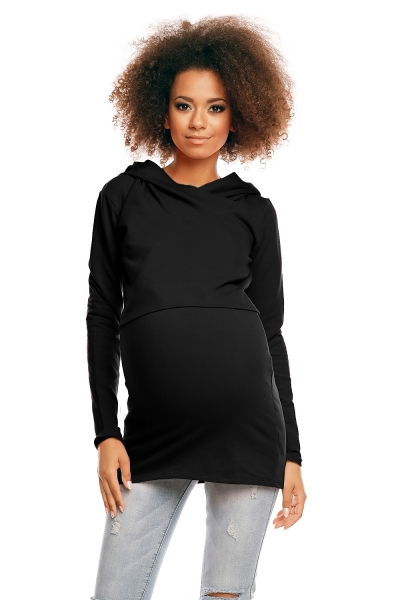 Těhotenské/kojící triko s kapucí - černé, vel. L/XL