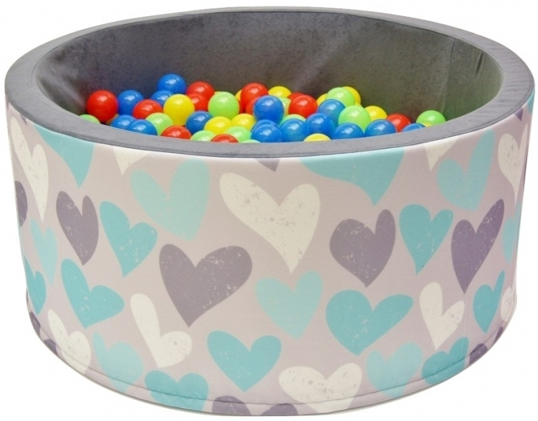 NELLYS Bazén pro děti 90x40cm kruhový tvar + 200 balónků - srdíčka, Ce19