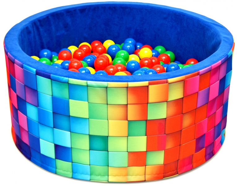 NELLYS Bazén pro děti 90x40cm kruhový tvar + 200 balónků - modrý, barevné kostičky, Ce19