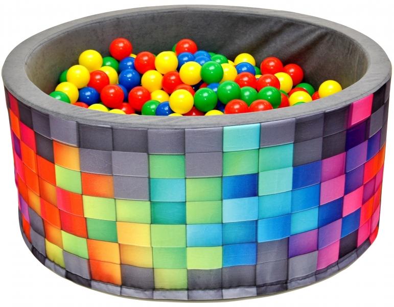 Bazén pro děti 90x40cm kruhový tvar + 200 balónků - šedý, barevné kostičky
