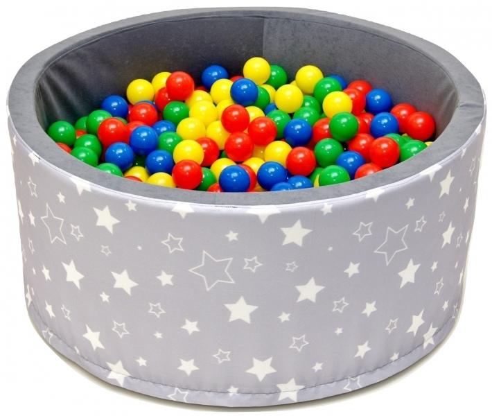 Bazén pro děti 90x40cm kruhový tvar + 200 balónků - šedý s hvězdičkami