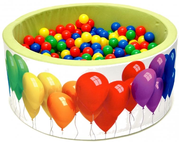 Bazén pro děti 90x40cm kruhový tvar + 200 balónků - zelený s balónky