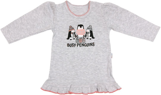 Bavlněná halenka Penguin - dlouhý rukáv - šedá, roz. 80