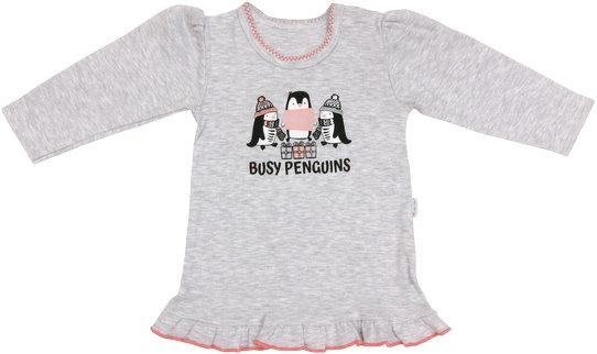 Bavlněná halenka Penguin - dlouhý rukáv - šedá, roz. 86