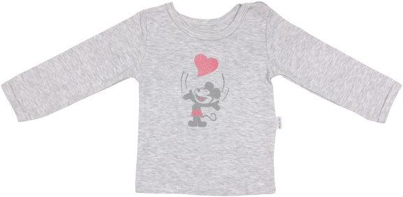 Bavlněné tričko Little mouse - dlouhý rukáv - šedé, roz. 80, Velikost: 80 (9-12m)