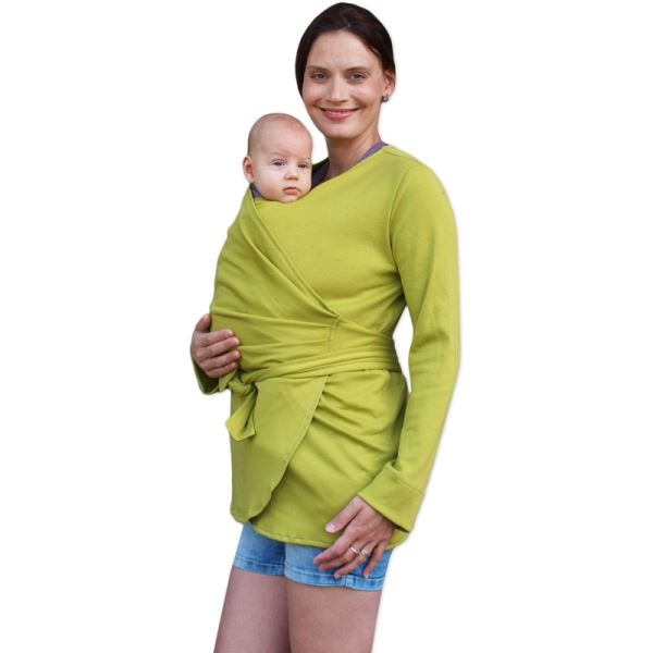 JOŽÁNEK Zavinovací kabátek pro nosící, těhotné - biobavlněný - limetkový