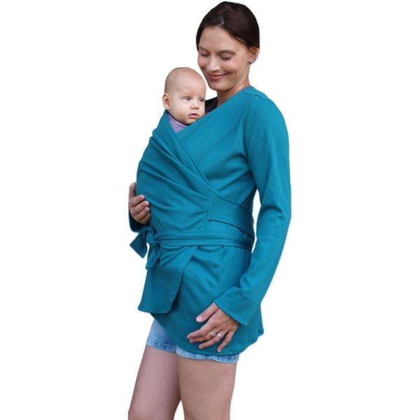 JOŽÁNEK Zavinovací kabátek pro nosící, těhotné - biobavlněný - petrolejový, vel. L/XL